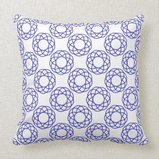 Modern Royal Blue Flowers on White Cushion