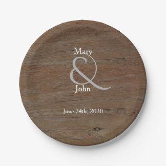 Modern Rustic country wedding dark brown wood 7 Inch Paper Plate