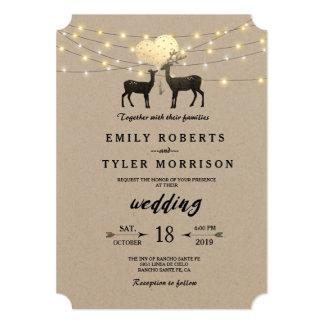 Modern Rustic Woodland Deer String Lights Wedding Card