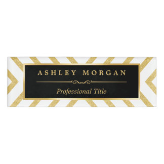 Modern Sassy Luxury Golden Glitter Sparkles Look Name Tag