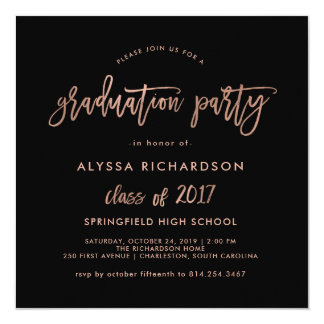 Modern Script | Graduation Party Faux Rose Gold Card