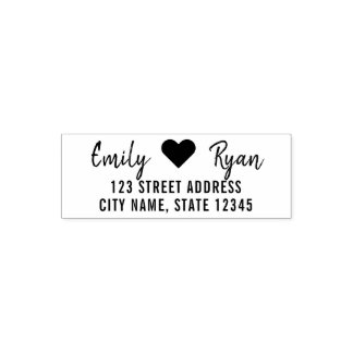 Modern Script Heart Couple Return Address Self-inking Stamp