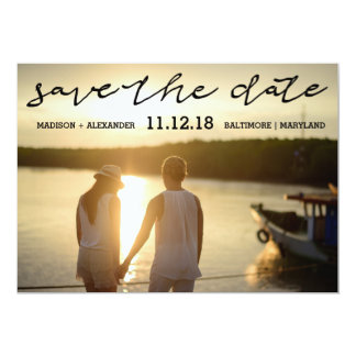 Modern Script Save The Date Couple Photo Wedding Card