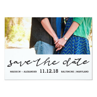 Modern Script Save The Date Couple Photo Wedding Card