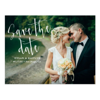Modern Script Wedding Save The Date Postcard