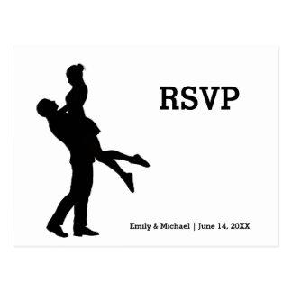Modern Silhouette Couple - RSVP Post Card