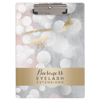 Modern Silver & Gold Eyelash Extensions Clipboard