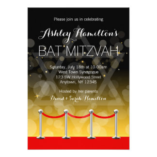 Modern Silver Red Carpet Hollywood Bat Mitzvah Personalized Invitations