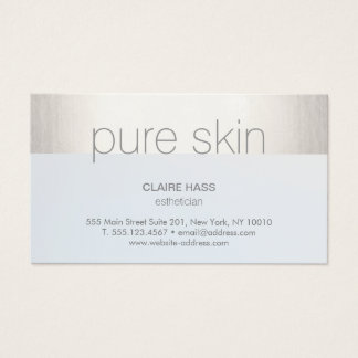 Modern Silver Stripe Light Blue Aesthetician Spa Business Card