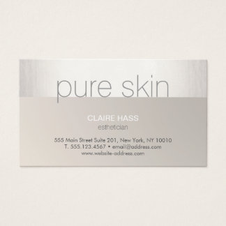 Modern Silver Taupe Aesthetician Spa Business Card