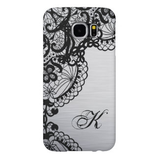 Modern Silver with Black Lace Custom Monogram Samsung Galaxy S6 Cases