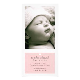 Modern Simple Baby Girl Birth Announcement Pink Personalised Photo Card
