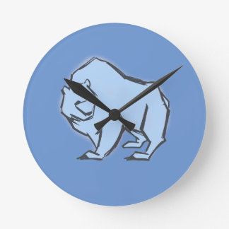 Modern, Simple & Beautiful Hand Drawn Blue Bear Wallclocks