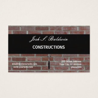 Modern Simple Builder  Brick Wall Construction Business Card