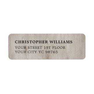 Modern Simple Elegant Wooden Photo Return Address Label