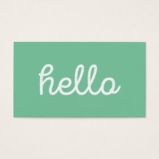 Modern simple green hello script graphic designer business card