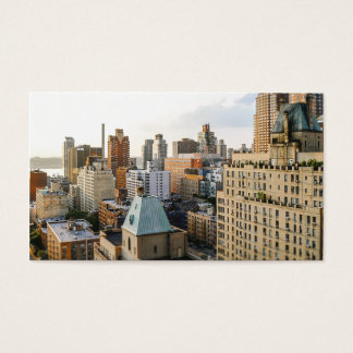Modern simple white city buildings photography business card