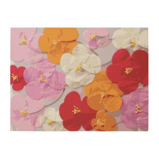 Modern Sketch Pink Red Orange Yellow Floral Print Wood Canvas