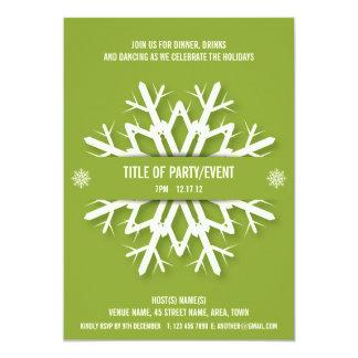 Modern Snowflake Christmas Party Invitation Green