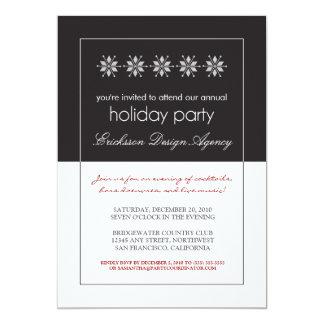 Modern Snowflakes Holiday Party Invitation (black)