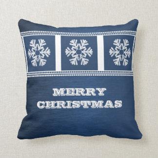 Modern Snowflakes Pillow, Blue Cushion