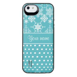Modern Snowflakes Polka Dots Personalized iPhone SE/5/5s Battery Case
