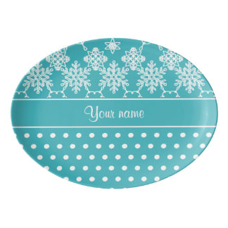 Modern Snowflakes Polka Dots Personalized Porcelain Serving Platter