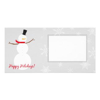 Modern snowman photo card