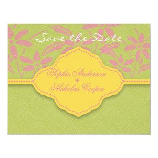 Modern spring damask flower save the date card 11 cm x 14 cm invitation card