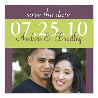 Modern Spring Green Purple Wedding Save the Date Card