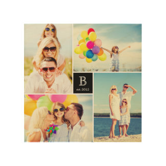 Modern Square Family Monogram Photo Collage Wood Wood Canvases