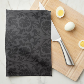 Modern Square Monogram on Black Damask Tea Towel