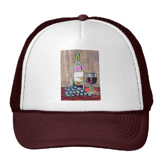 Modern  still life art of wine and grapes Cap Hats