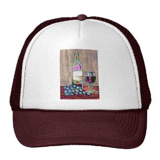 Modern  still life art of wine and grapes Cap Hats