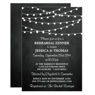 Modern String Lights Chalkboard Rehearsal Dinner Card