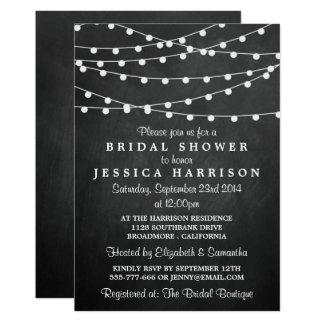 Modern String Lights On Chalkboard Bridal Shower Card