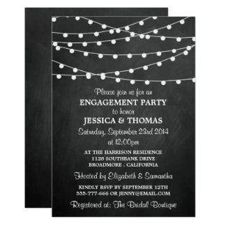 Modern String Lights On Chalkboard Engagement Card