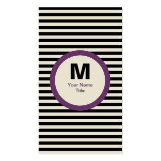 Modern Stripe Monogram Business Card - Black Cream