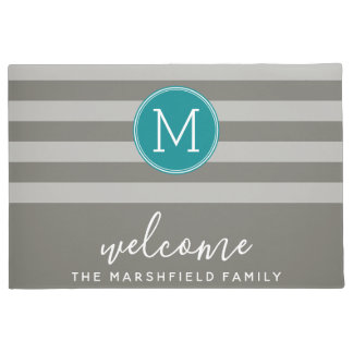 Modern Striped Pattern Family Welcome taupe teal Doormat