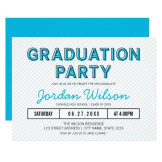 Modern Stripes Blue Graduation Party Card