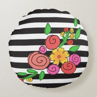 modern stripes floral round pillow