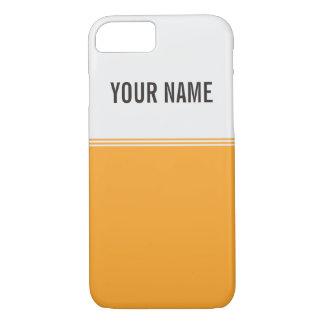 Modern Stripes Orange Gold Custom Name iPhone 7 Case