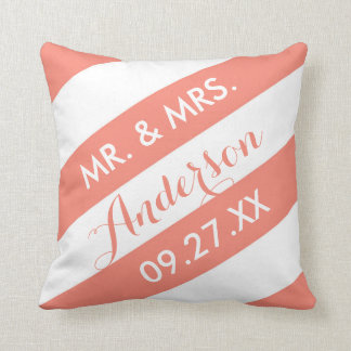 Modern Stripes Personalized Throw Pillow / Coral
