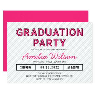 Modern Stripes Pink Graduation Party Card
