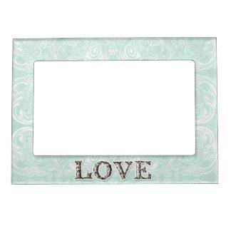 Modern Style Vintage Damask Lace Look - Aqua Blue Magnetic Frame