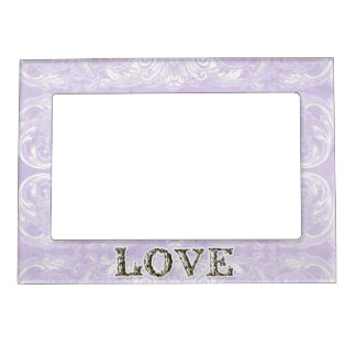 Modern Style Vintage Damask Lace Look - Blue Magnetic Picture Frame
