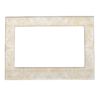 Modern Style Vintage Damask Lace Look - Cream Tan Magnetic Frame