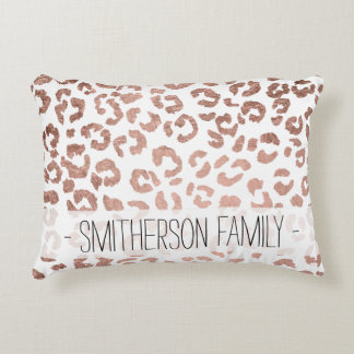 Modern stylish hand drawn rose gold leopard print decorative cushion