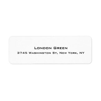 Modern Stylish Professional Plain Simple White Return Address Label
