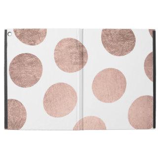 "Modern stylish rose gold hand drawn big polka dots iPad pro 12.9"" case"